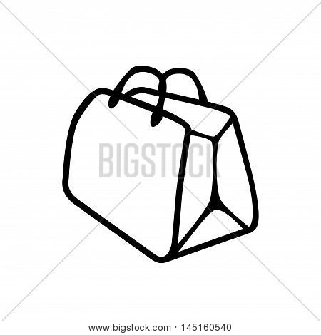 Shopping bag icon. Vector packet flat sign