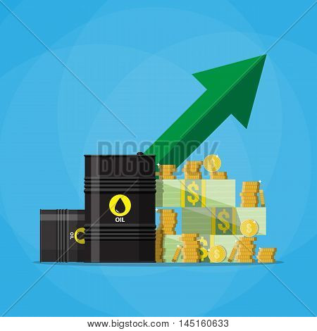 Stack of dollars and coins on oil barrel. green chart graph arrow pointing up, oil industry. vector illustration in flat style on blue background