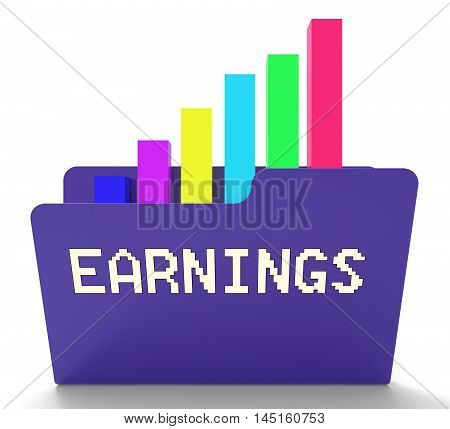 Earnings Chart Means Business Graph 3D Rendering