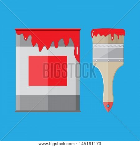 Metal tin can with red paint and paintbrush. vector illistration in flat style on blue background