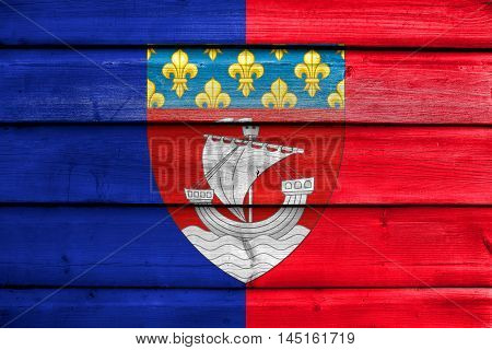 Flag Of Paris With Coat Of Arms (escutcheon Only), France, Painted On Old Wood Plank Background