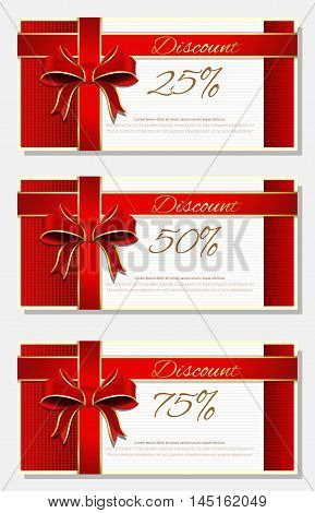 Set of discount cards with 25, 50, 75 percent discount. Discount cards with red ribbon and bow isolated on white background. Vector illustration