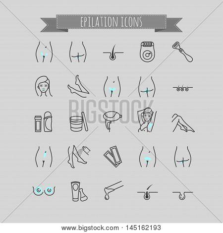 Set of thin line epilation web icons. Sugaring, waxing, hair removing. Depilation icons