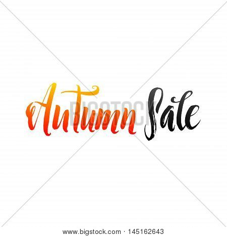 Autumn Sale Hand lettering Design Template. Typography Vector Background. Handmade calligraphy. Easy paste to any background.