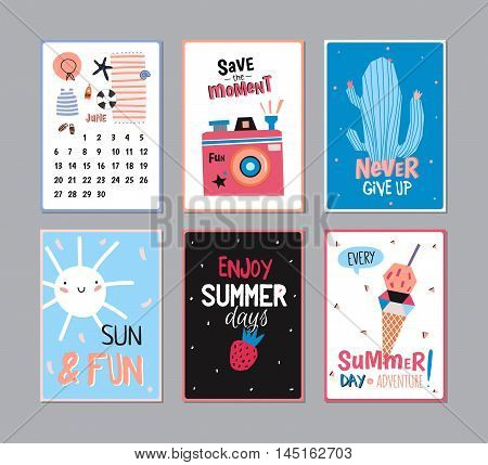 Cute Summer Poster Set with Calendar. June. Trandy Summer Elements. Summer Typographic. Vector. Isolated. Good for Scandinavian Greeting Cards, Gift Tags, Placards, Stickers and Labels Templates.