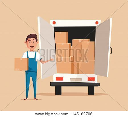 Good worker in uniform. Cartoon vector illustration. Relocation. Move. Character design. Moving service. Van