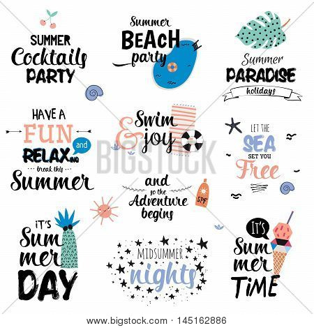 Cute Summer Typography Design Set with Trendy Summer Elements. Summer Typographic text. Vector. Isolated. White Background. Scandinavian Summer Concept.