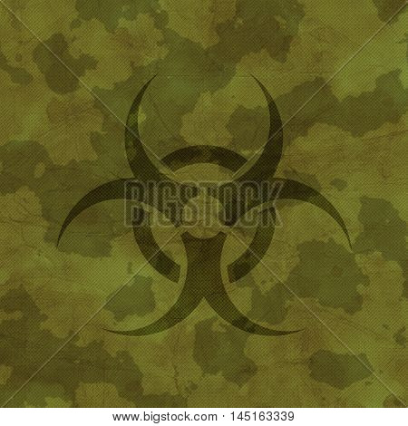 An amazing khaki texture with a biohazard sign