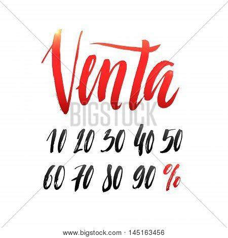 Sale in Spanish Hand lettering Design Template. Typography Vector Background. Handmade calligraphy. Easy paste to any background.