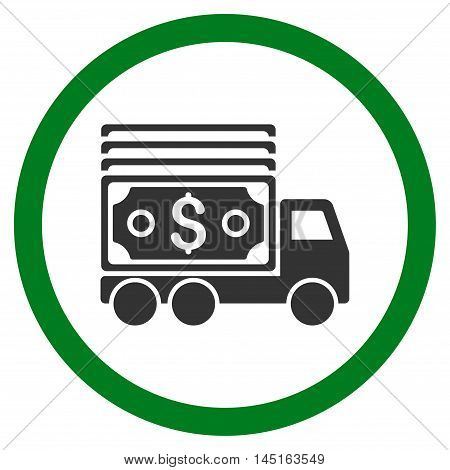 Cash Lorry vector bicolor rounded icon. Image style is a flat icon symbol inside a circle, green and gray colors, white background.