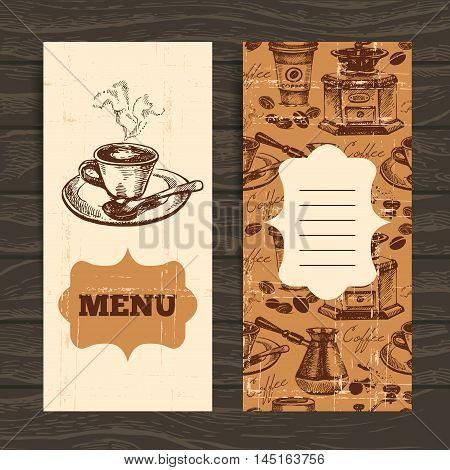 Hand drawn vintage coffee background. Menu for restaurant, cafe, bar, coffeehouse