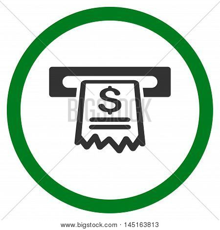 Cashier Receipt vector bicolor rounded icon. Image style is a flat icon symbol inside a circle, green and gray colors, white background.