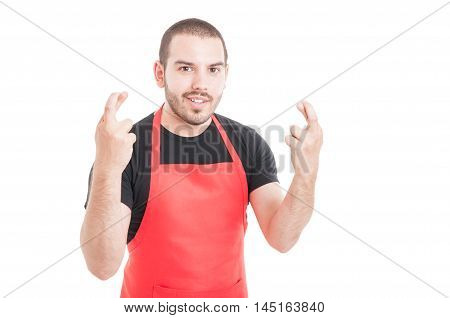 Smiling Handsome Employee Doing Double Luck Sign