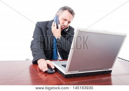Occupied Broker Using Both Telephone And Mobile Phone