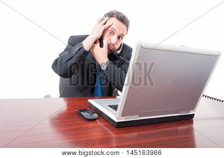 Scared Businessman Having Trouble At Work