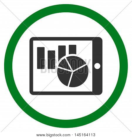 Charts on Pda vector bicolor rounded icon. Image style is a flat icon symbol inside a circle, green and gray colors, white background.