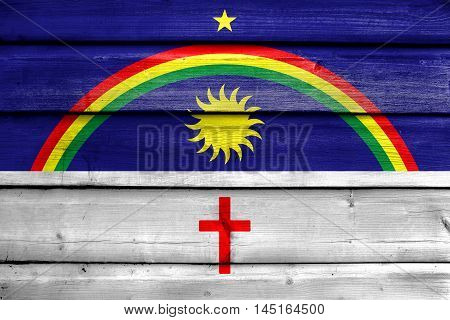 Flag Of Pernambuco State, Brazil, Painted On Old Wood Plank Background