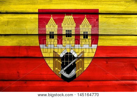 Flag Of Prague With Coat Of Arms (escutcheon Only), Czechia, Painted On Old Wood Plank Background