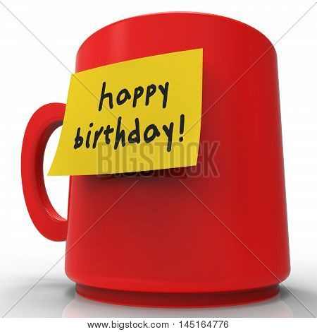 Happy Birthday Message Indicates Congratulations Greeting 3D Rendering