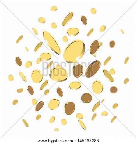 Vector background with falling gold coins isolated on a white background
