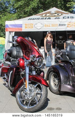 St. Petersburg, Russia - 12 August, Large claret motorcycle,12 August, 2016. The annual International Festival of Motor Harley Davidson in St. Petersburg Ostrovsky Square.