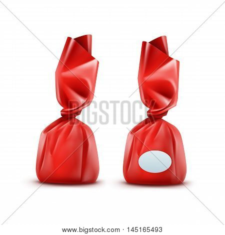 Vector Realistic Chocolate Candy in Red Glossy Wrapper Close up Isolated on White Background