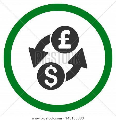 Dollar Pound Exchange vector bicolor rounded icon. Image style is a flat icon symbol inside a circle, green and gray colors, white background.