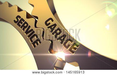 Garage Service on Mechanism of Golden Cogwheels with Lens Flare. 3D.