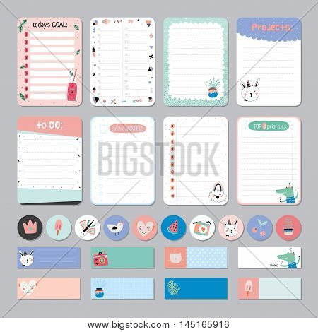 Cute Calendar Daily  Planner Template. Note Paper and Stickers Set with Vector Funny Animals Illustrations. Good for Kids. Cute Background. Organizer and Schedule with place for Notes.