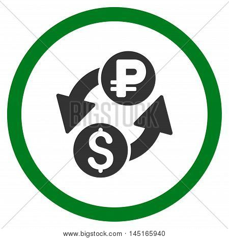Dollar Rouble Exchange vector bicolor rounded icon. Image style is a flat icon symbol inside a circle, green and gray colors, white background.