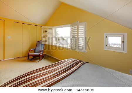 Cozy Simple Guest Bedroom With Vaulted Ceiling