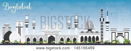Baghdad Skyline with Gray Buildings and Blue Sky. Business Travel and Tourism Concept with Historic Buildings. Image for Presentation Banner Placard and Web Site.