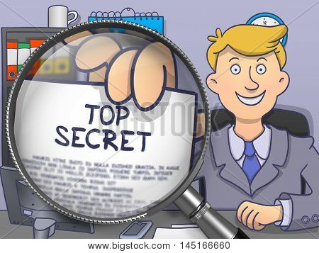 Top Secret. Paper with Text in Businessman's Hand through Lens. Colored Doodle Style Illustration.