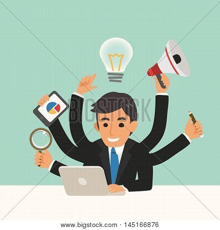 businessman with multitasking skills vector cartoon illustration