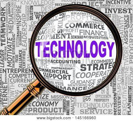 Technology Magnifier Represents High Tech 3D Rendering