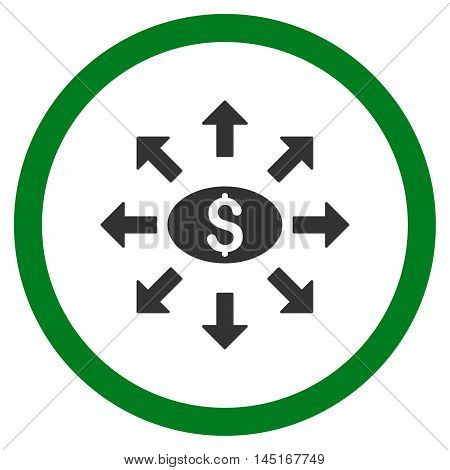 Mass Cashout vector bicolor rounded icon. Image style is a flat icon symbol inside a circle, green and gray colors, white background.