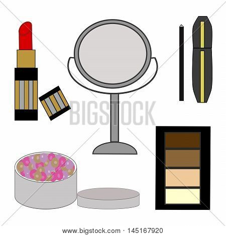 Vector illustration of logo for women's cosmetics.Isolated drawing that consists of lipstick,mirror,mascara,eyeliner,face powder,close-up,white background.The icon the beauty salon.Celebration girls.