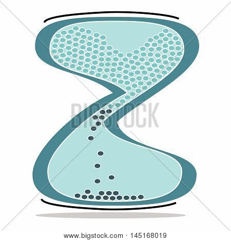 Vector illustration logo for a green hourglass. Isolated in the drawing,consists of glass, water, black specks on a white background. The icon for countdown, timer, market, time, speed, accuracy,arts.