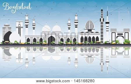 Baghdad Skyline with Gray Buildings, Blue Sky and Reflections. Business Travel and Tourism Concept with Historic Buildings. Image for Presentation Banner Placard and Web Site.