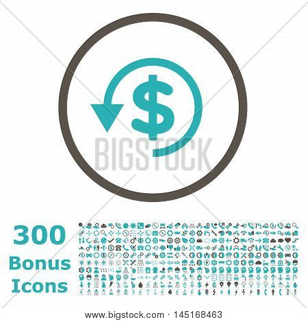 Chargeback rounded icon with 300 bonus icons. Vector illustration style is flat iconic bicolor symbols, grey and cyan colors, white background.