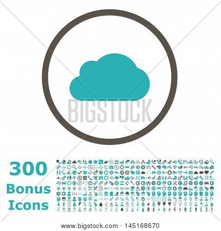 Cloud rounded icon with 300 bonus icons. Vector illustration style is flat iconic bicolor symbols, grey and cyan colors, white background.