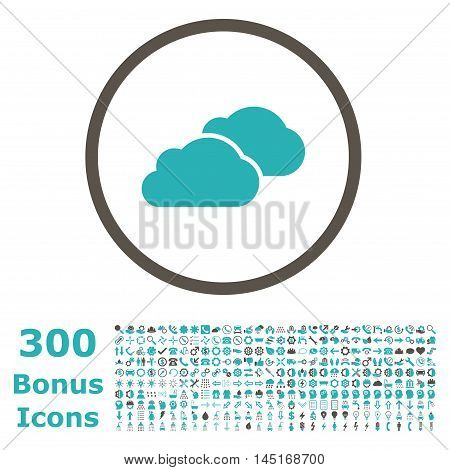 Clouds rounded icon with 300 bonus icons. Vector illustration style is flat iconic bicolor symbols, grey and cyan colors, white background.