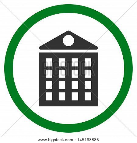 Multi-Storey House vector bicolor rounded icon. Image style is a flat icon symbol inside a circle, green and gray colors, white background.