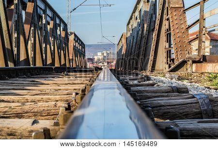 Low view shot on the railroad bridge