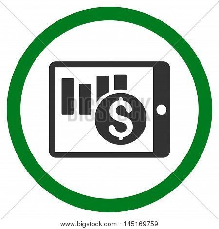 Sales Chart on Pda vector bicolor rounded icon. Image style is a flat icon symbol inside a circle, green and gray colors, white background.