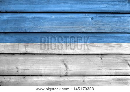 Flag Of Puno, Peru, Painted On Old Wood Plank Background