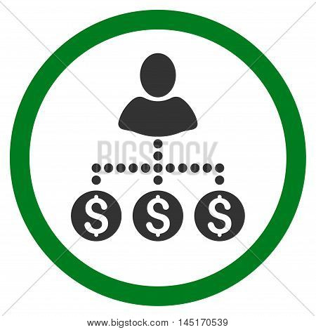 User Payments vector bicolor rounded icon. Image style is a flat icon symbol inside a circle, green and gray colors, white background.