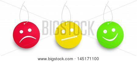 Red yellow and green tags isolated on white backgroun. Right and wrong concept