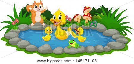 Vector illustration of mother duck and little ducklings swimming in the pond