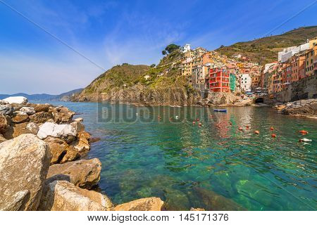 Riomaggiore town on the coast of Ligurian Sea, Italy